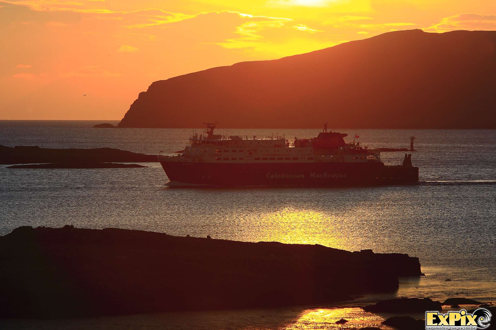 Calmac Ferry arriving in Barra Outer Hebrides